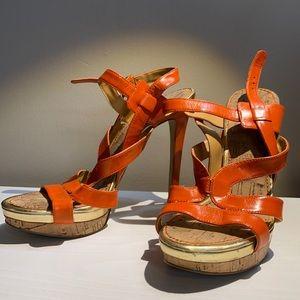 Nine West Orange Sandal Heels